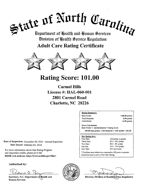 State of North Carolina, Department of Health and Human Services, Division of Health Service Regulation, Adult Care Rating Certificate with score 101.00 issued February 2, 2016